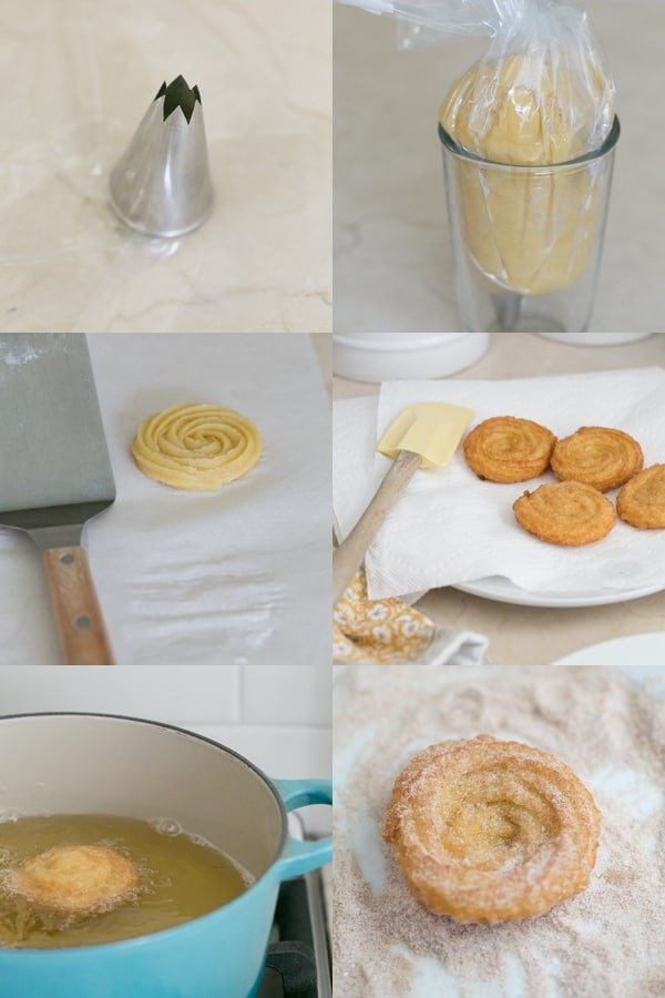 Pictures showing steps for making churros.
