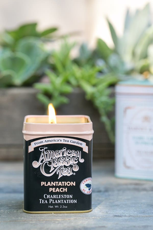 American Classic tea can turned into a citronella candle