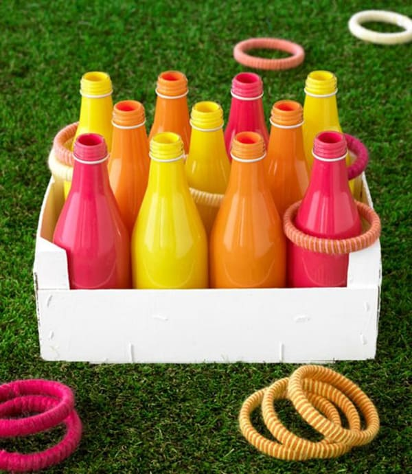 Colored bottles with rings