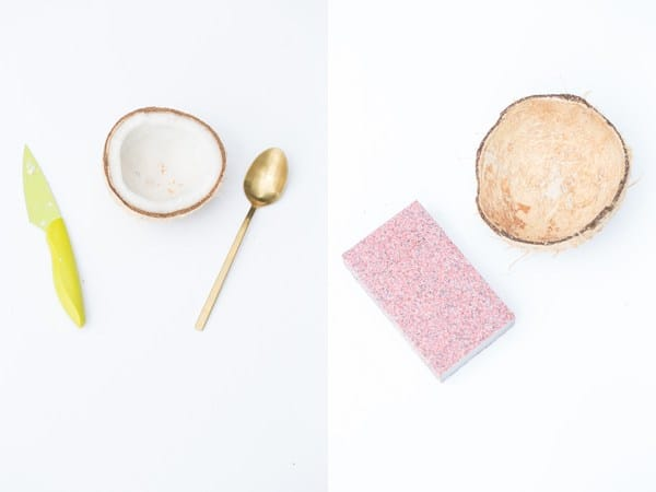 montage showing a half coconut with meat in it on the left and a spoon and knife next to it. On the right is a coconut shell with sandpaper next to it