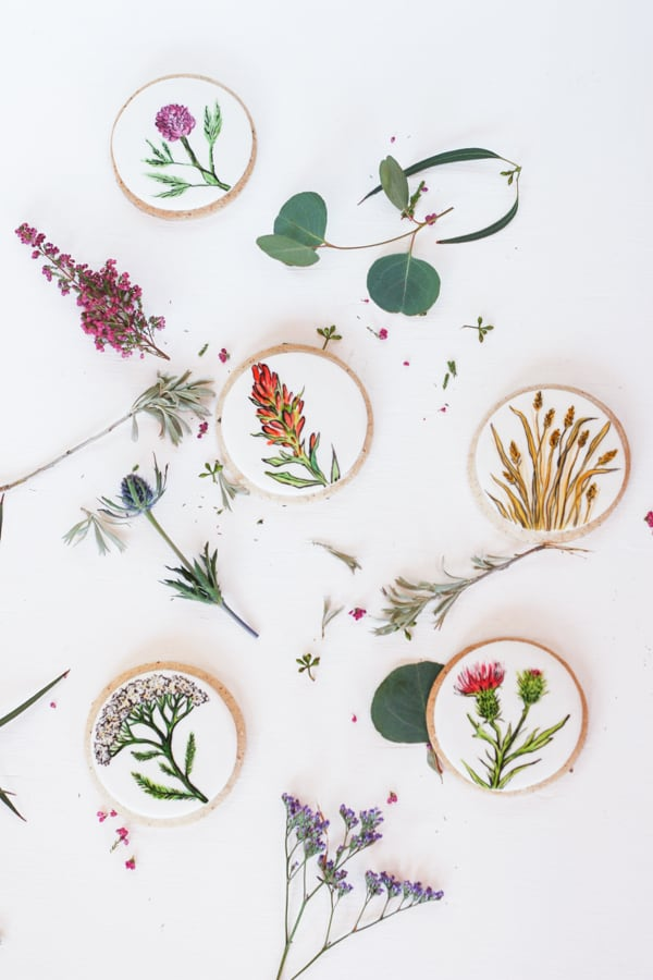 Hand painted cookies with flowers