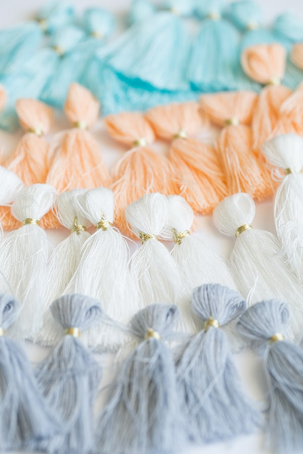 Tassels lined up in a row