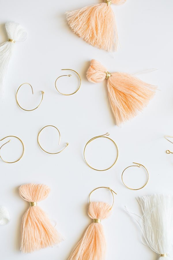 Orange tassels with gold loops