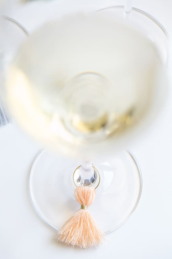 Wine charm on a wine glass