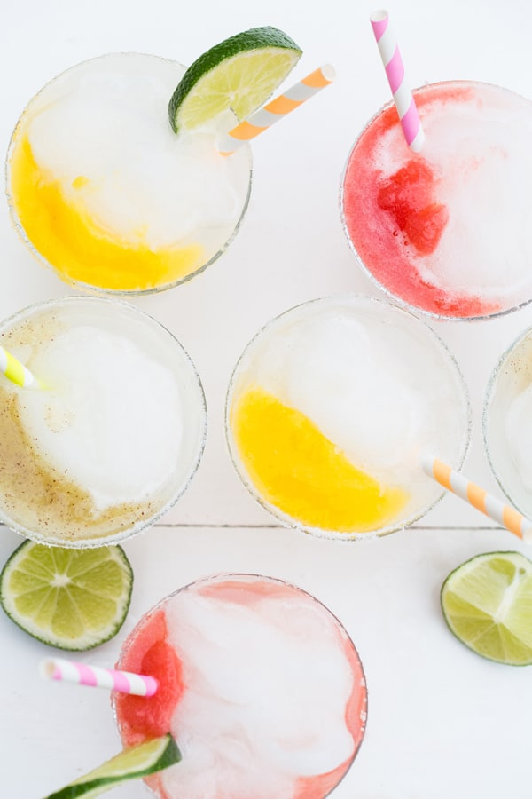 Mini frozen margaritas with fruit purees.