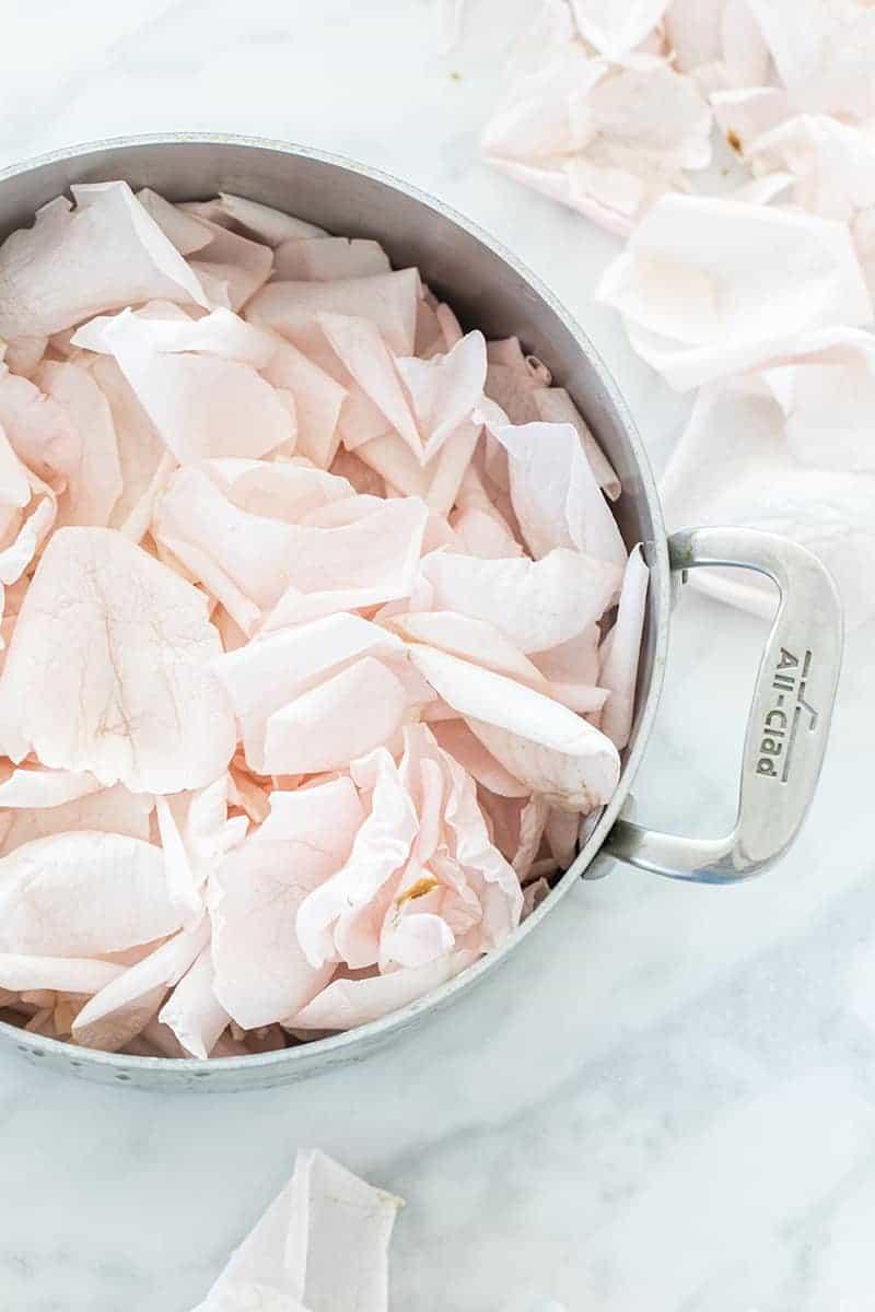 Rose petals in a All-Clad pot.