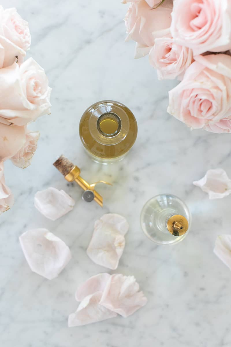 Rose water on a marble table