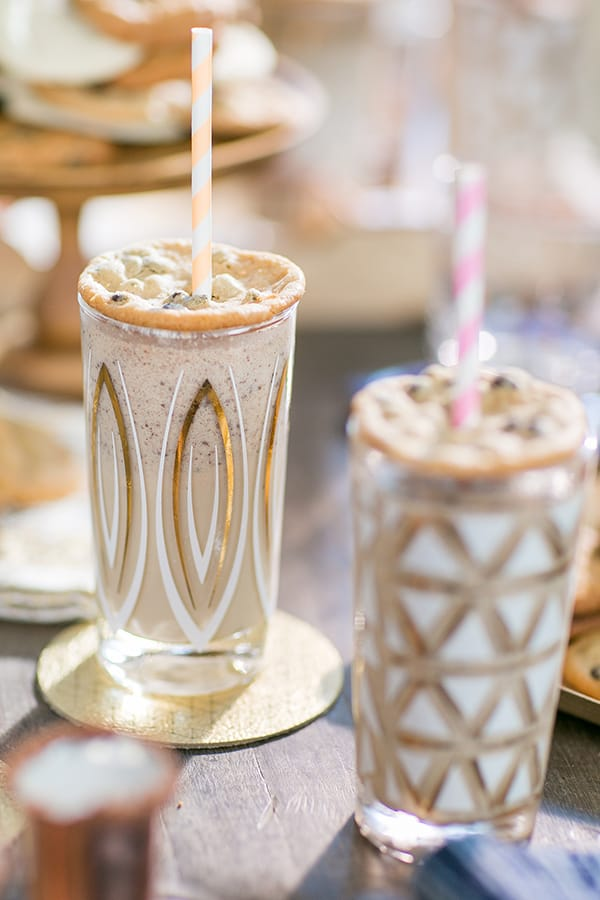 Boozy chocolate milkshakes with a chocolate chip cookie swap