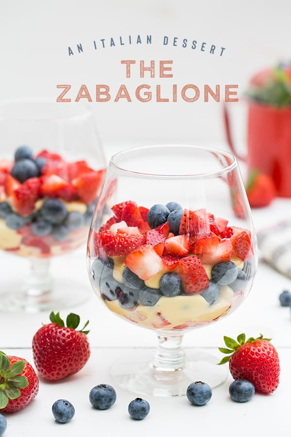 Zabaglione dessert with strawberries and blueberries