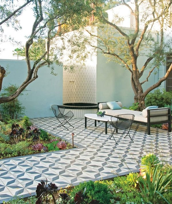 Beautiful tile and lush plants on a patio
