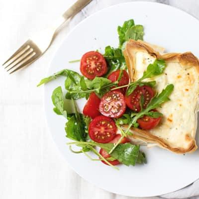 Parmesan Ricotta Tarts + Tomato Salad