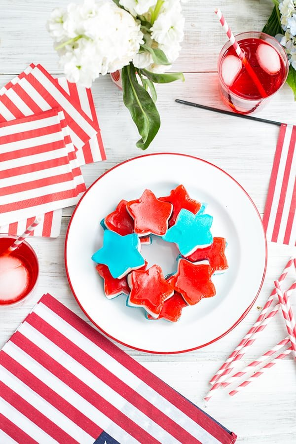 Jello shots on a plate for the 4th of July