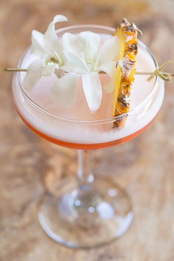 top down shot of tiki cocktail