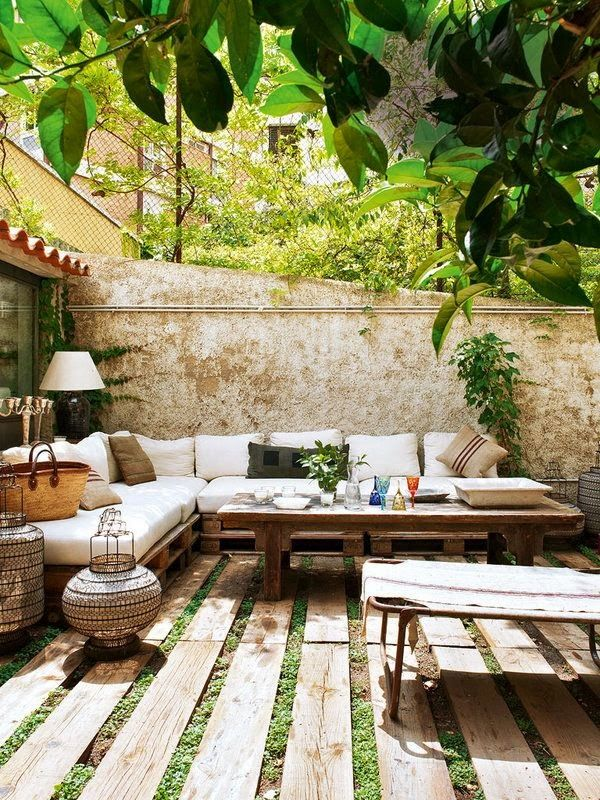 An outdoor living room seating area.