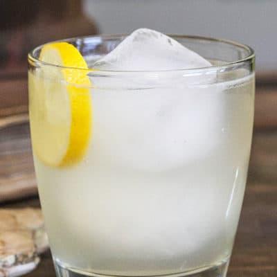 White wine ginger and lemon cocktail