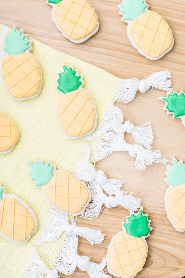 Pineapple sugar cookies on a table.