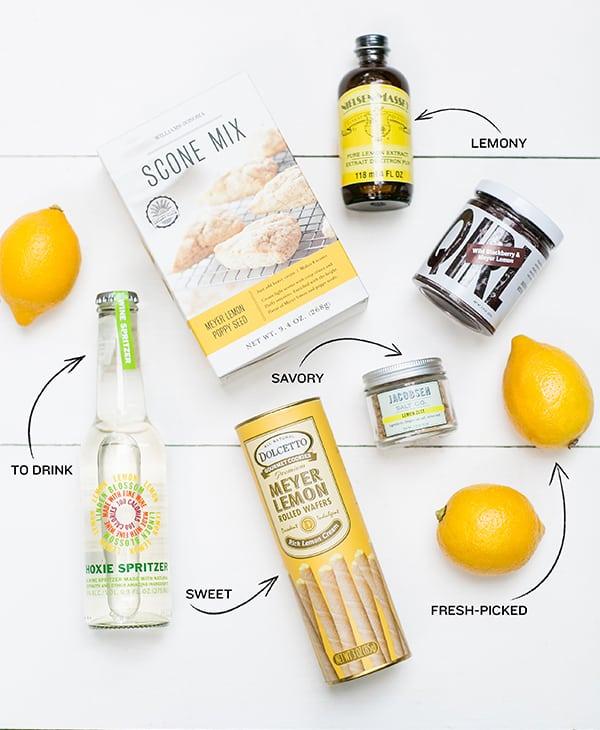 lemon scone mix, lemon extract, lemons, lemon cookies, lemon salt and lemon jam