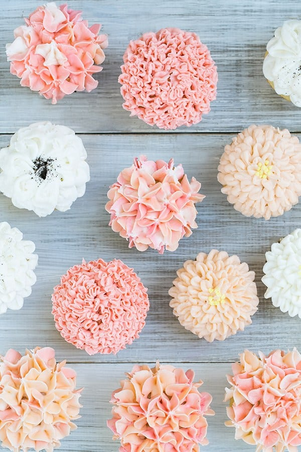 We had a grand ol' time experimenting with frosting tips and buttercream to turn cupcakes into flowers! Who doesn't love cupcakes ...