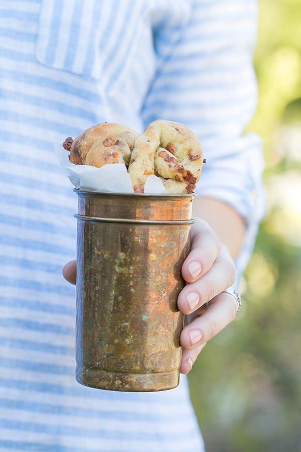Pretzels in a copper cup