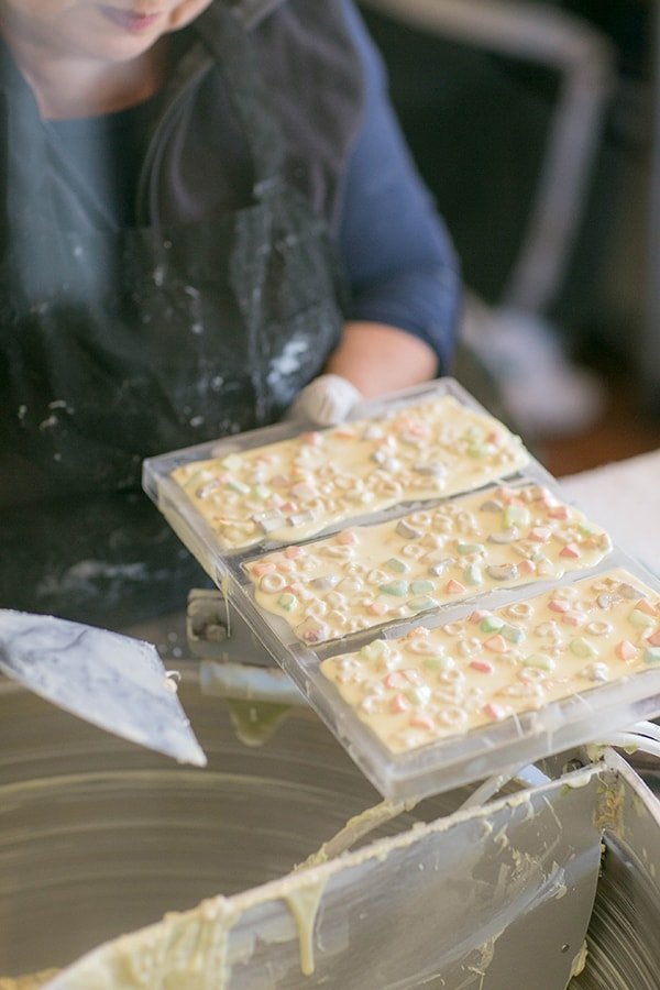 White cereal chocolate bar being made at compartes