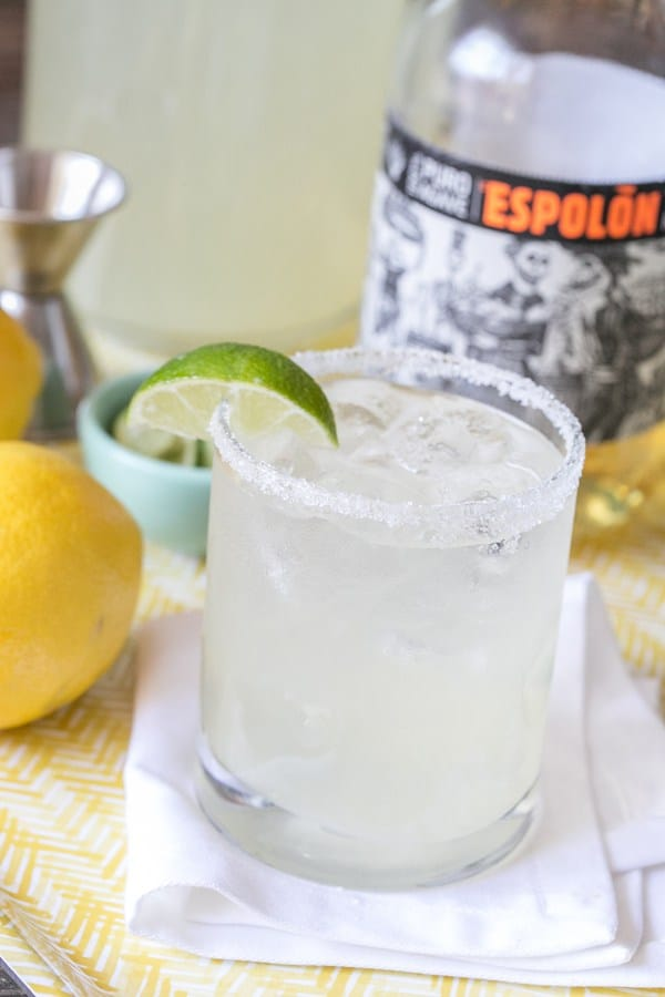 Cinco de Mayo margarita with lemonade, lime wedge and salted rim.