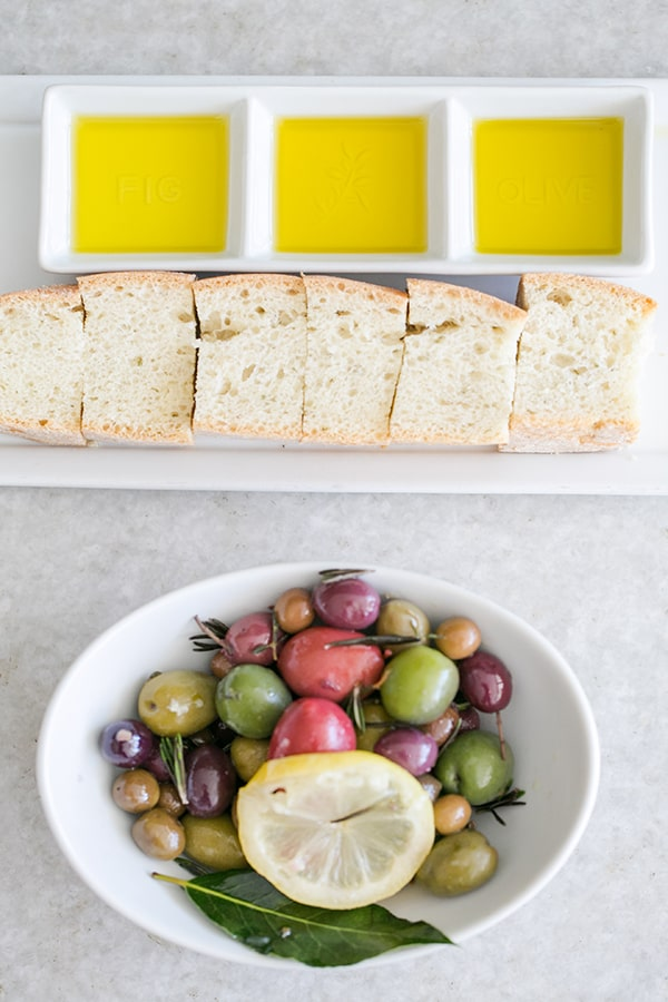 Olives, olive oil and bread