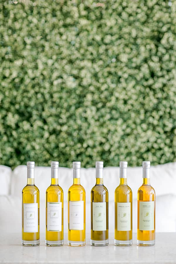 Olive oil bottles on a table for olive oil tasting.