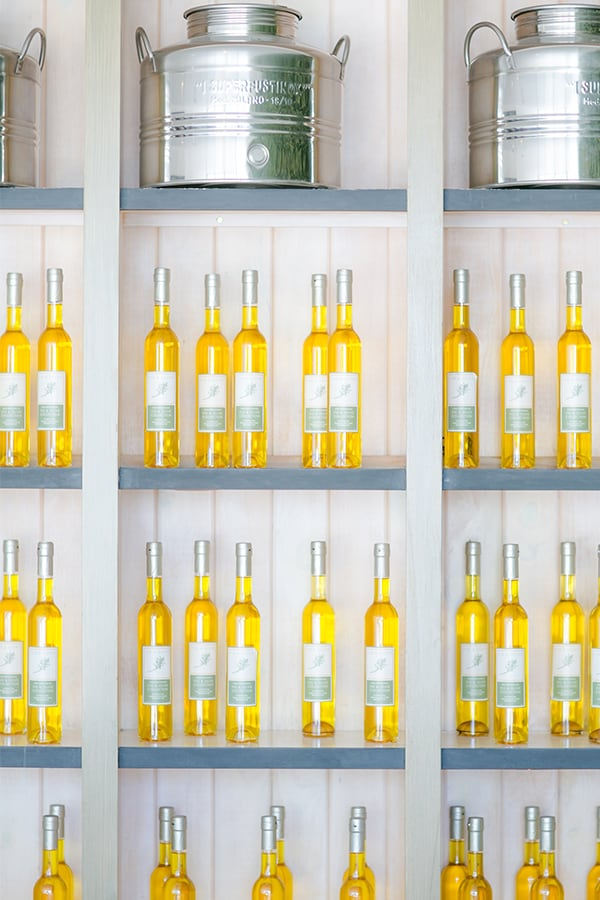 Olive oil bottles on a shelf