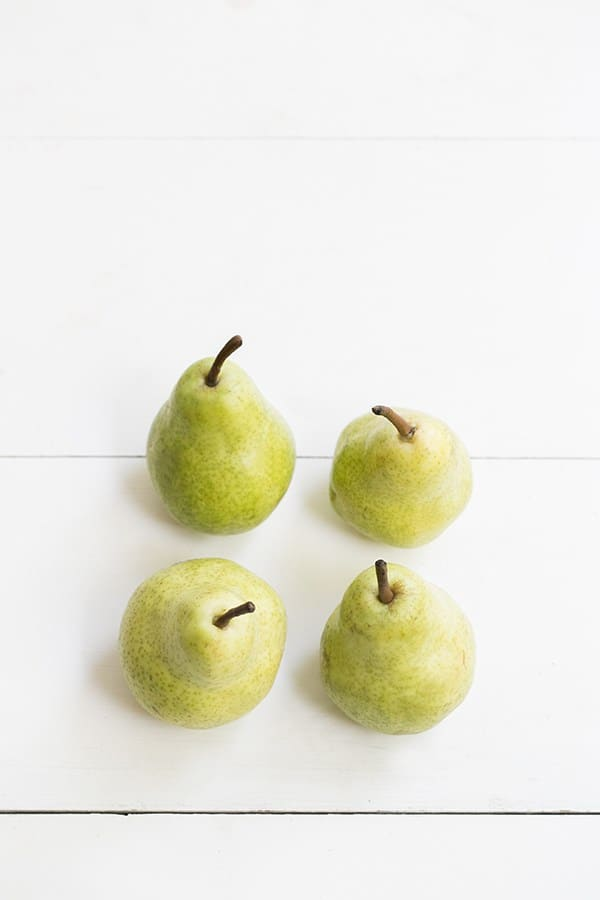 overhead shot of four pears