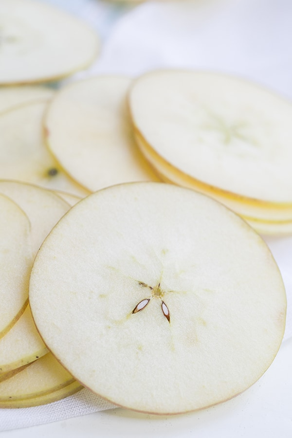 close up of sliced pears for the pear and apple chips recipe