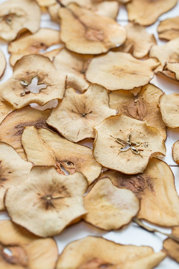 shot of finished pear and apple chips recipe