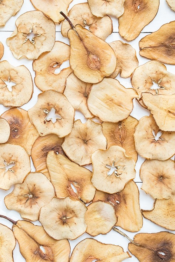 pear and apple chips on a table
