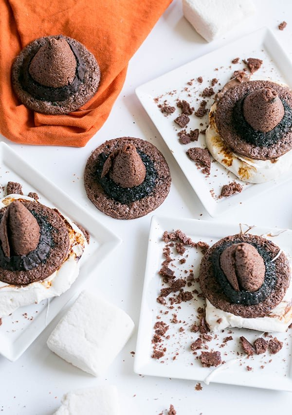 s'more cookies shaped as a witch hat
