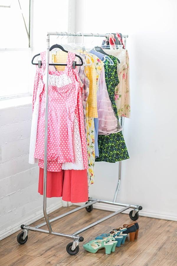 Vintage clothes on a rack for an Amy Sedaris party.