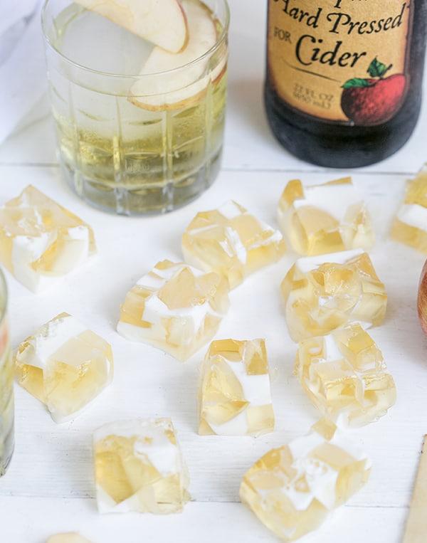 Top down shot of hard apple cider jello shots