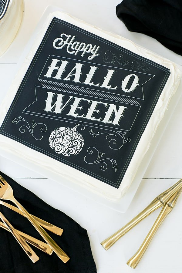 Halloween cakes on white table
