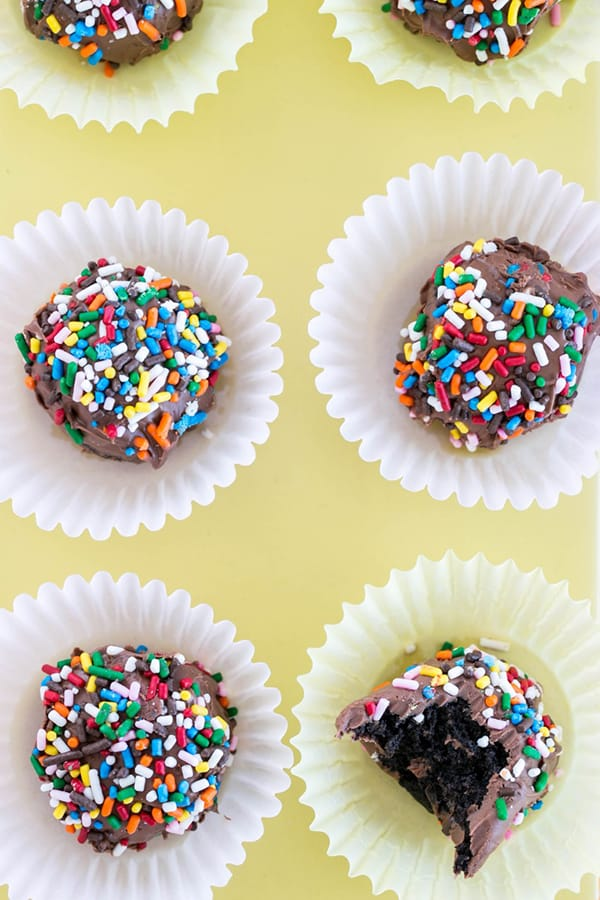 Oreo truffles on cupcake liners with sprinkles