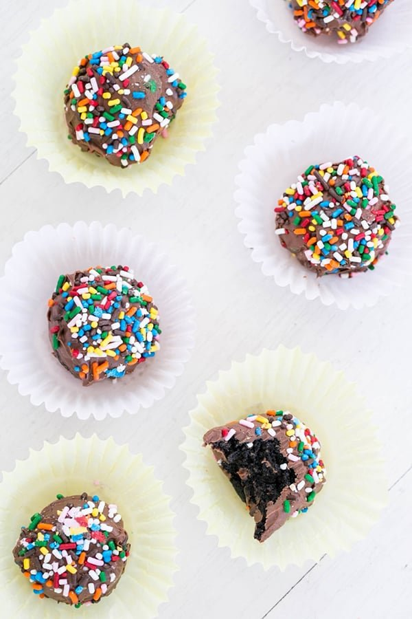 Oreo truffles with sprinkles.
