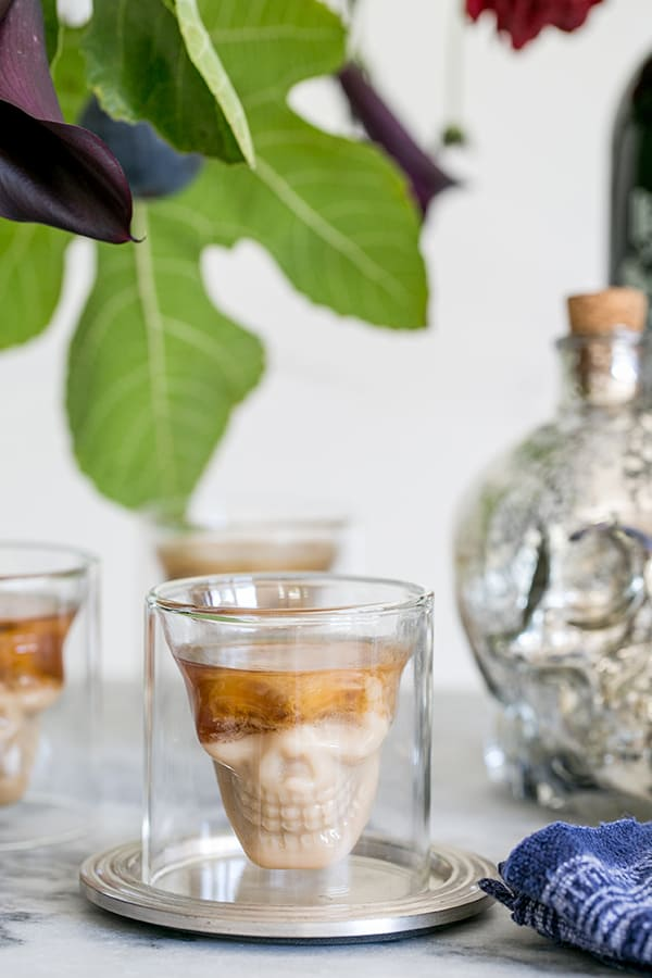shot of skull glasses on the halloween bar