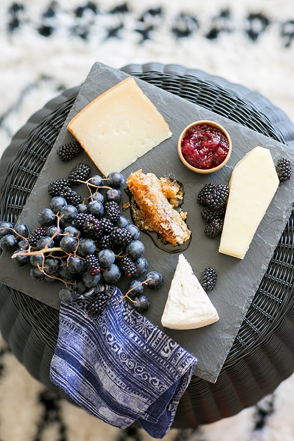 top down shot of cheese board on the halloween bar