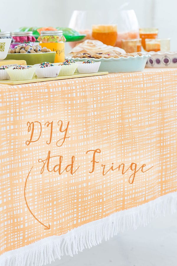 Fringe sewn on a tablecloth