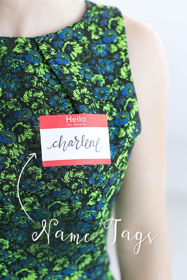 Hello my name is name tags on a vintage dress