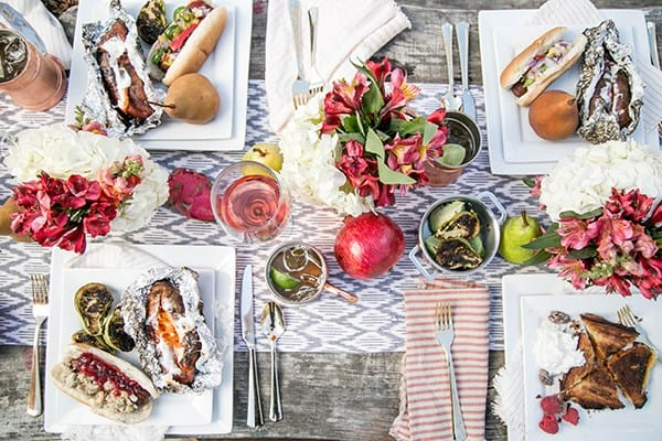 overhead shot of beautiful table spread