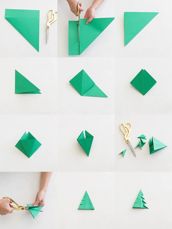 Pictures of steps for making DIY origami Christmas trees.