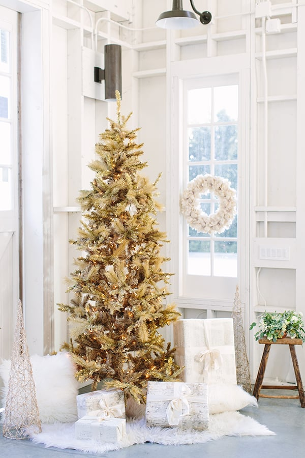 gold christmas tree in the corner