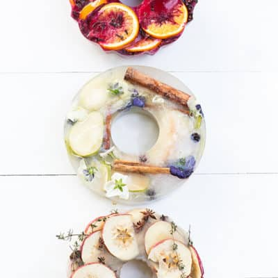 DIY fruit and floral ice rings