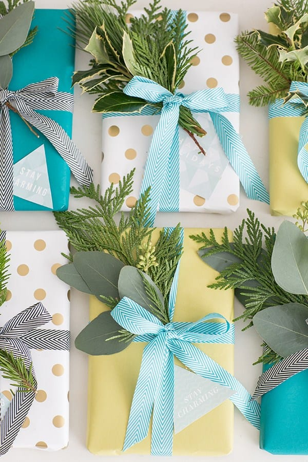 Holiday gift tags printable for Christmas presents with greens.