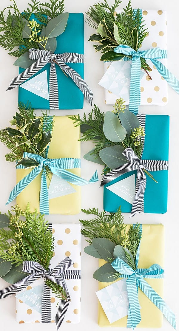 holiday gift tags and pretty wrapping paper.