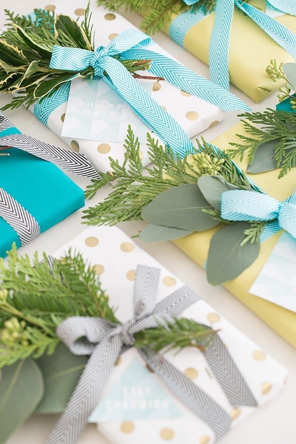 Pretty holiday wrapping paper and gift tags