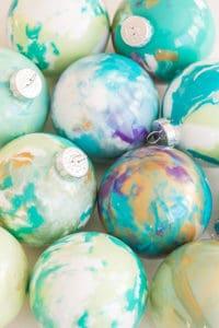 DIY Marbled Ornaments